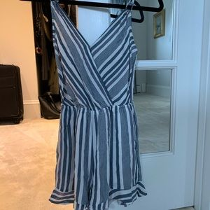 American Eagle blue and white striped romper NWT